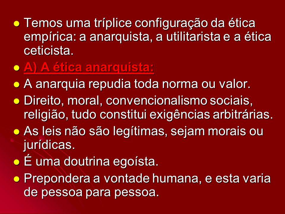 Temos uma tríplice configuração da ética empírica: a anarquista, a utilitarista e a ética ceticista. Temos uma tríplice configuração da ética empírica