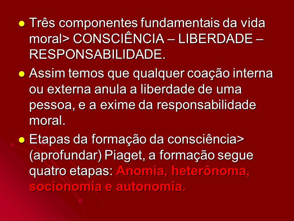 Três componentes fundamentais da vida moral> CONSCIÊNCIA – LIBERDADE – RESPONSABILIDADE. Três componentes fundamentais da vida moral> CONSCIÊNCIA – LI