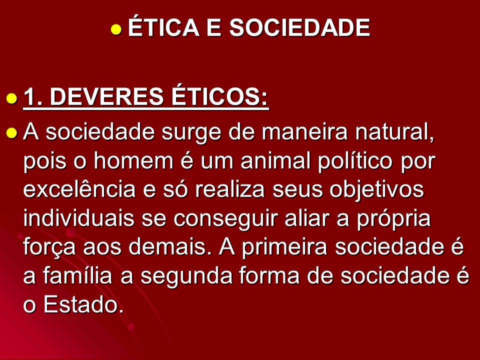 ÉTICA E SOCIEDADE ÉTICA E SOCIEDADE 1. DEVERES ÉTICOS: 1. DEVERES ÉTICOS: A sociedade surge de maneira natural, pois o homem é um animal político por