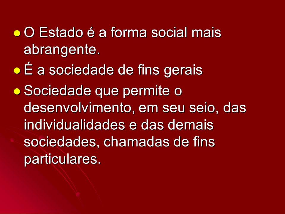 O Estado é a forma social mais abrangente. O Estado é a forma social mais abrangente. É a sociedade de fins gerais É a sociedade de fins gerais Socied