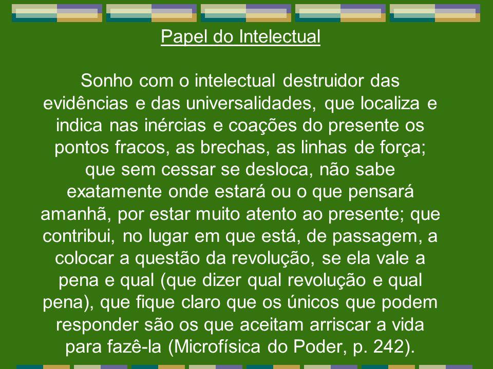 Papel do Intelectual Sonho com o intelectual destruidor das evidências e das universalidades, que localiza e indica nas inércias e coações do presente
