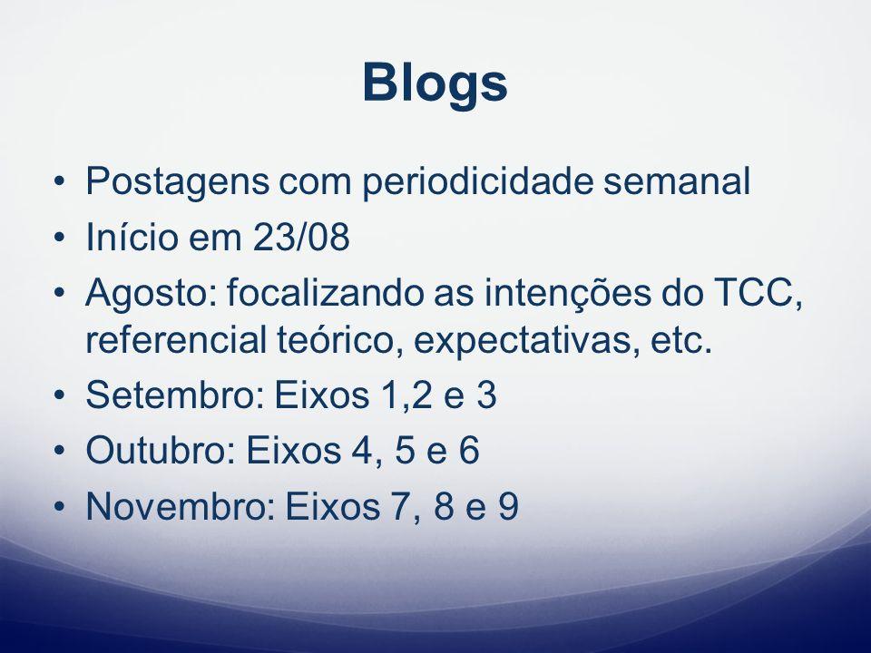 Blogs Postagens com periodicidade semanal Início em 23/08 Agosto: focalizando as intenções do TCC, referencial teórico, expectativas, etc. Setembro: E