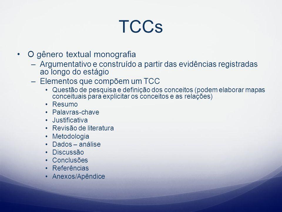 TCCs O gênero textual monografia –Argumentativo e construído a partir das evidências registradas ao longo do estágio –Elementos que compõem um TCC Que
