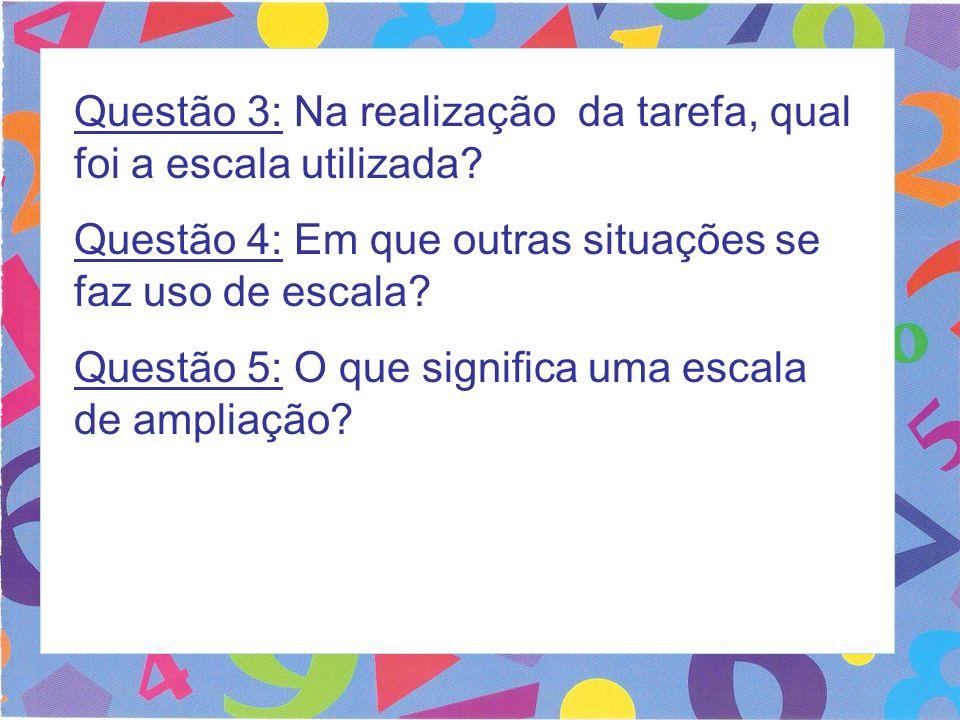 Questão 3: Na realização da tarefa, qual foi a escala utilizada? Questão 4: Em que outras situações se faz uso de escala? Questão 5: O que significa u