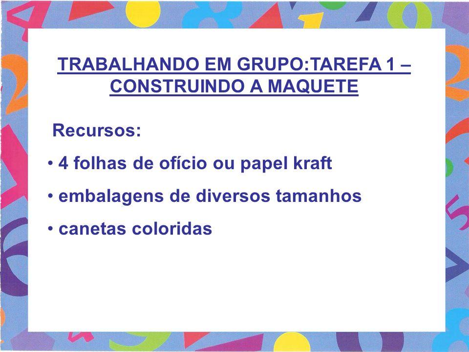 TRABALHANDO EM GRUPO:TAREFA 1 – CONSTRUINDO A MAQUETE Recursos: 4 folhas de ofício ou papel kraft embalagens de diversos tamanhos canetas coloridas