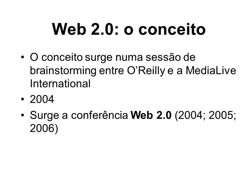 Web 2.0: o conceito O conceito surge numa sessão de brainstorming entre OReilly e a MediaLive International 2004 Surge a conferência Web 2.0 (2004; 20