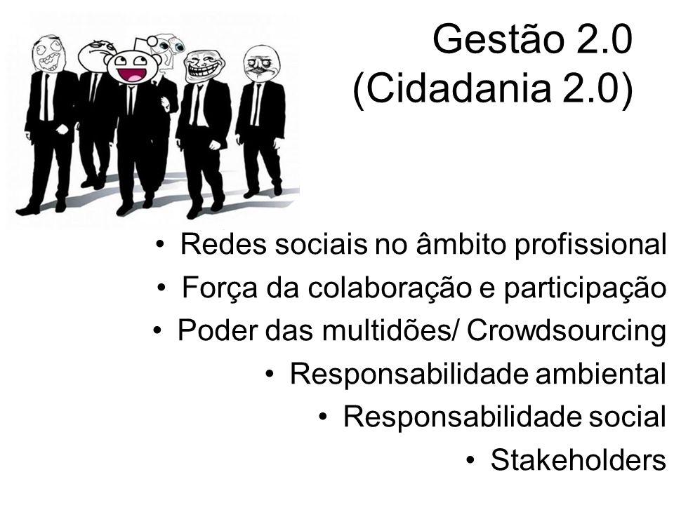 Gestão 2.0 (Cidadania 2.0) Redes sociais no âmbito profissional Força da colaboração e participação Poder das multidões/ Crowdsourcing Responsabilidad