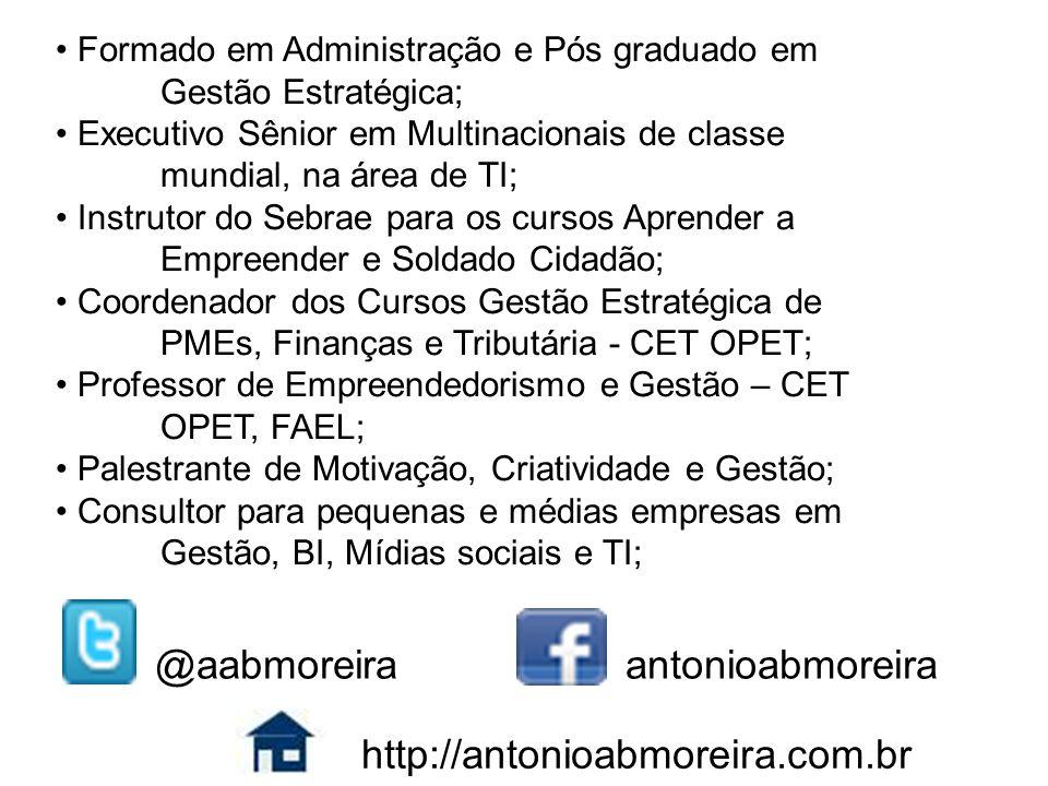 Formado em Administração e Pós graduado em Gestão Estratégica; Executivo Sênior em Multinacionais de classe mundial, na área de TI; Instrutor do Sebra