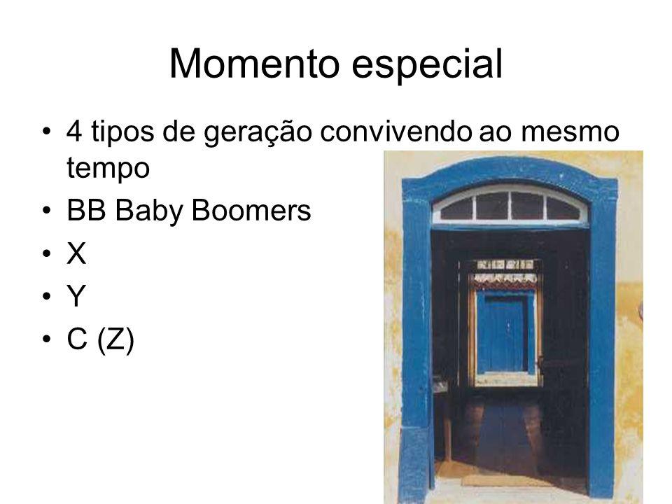 Momento especial 4 tipos de geração convivendo ao mesmo tempo BB Baby Boomers X Y C (Z)