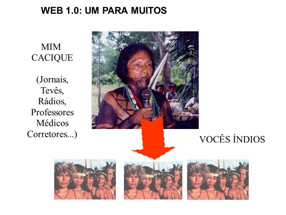 MIM CACIQUE (Jornais, Tevês, Rádios, Professores Médicos Corretores...) VOCÊS ÍNDIOS WEB 1.0: UM PARA MUITOS