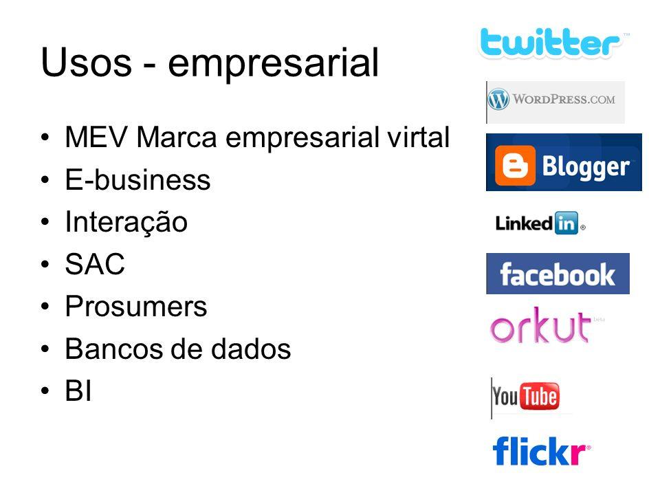 Usos - empresarial MEV Marca empresarial virtal E-business Interação SAC Prosumers Bancos de dados BI