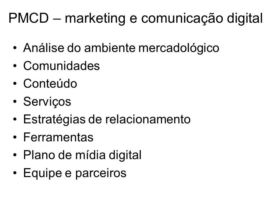 PMCD – marketing e comunicação digital Análise do ambiente mercadológico Comunidades Conteúdo Serviços Estratégias de relacionamento Ferramentas Plano