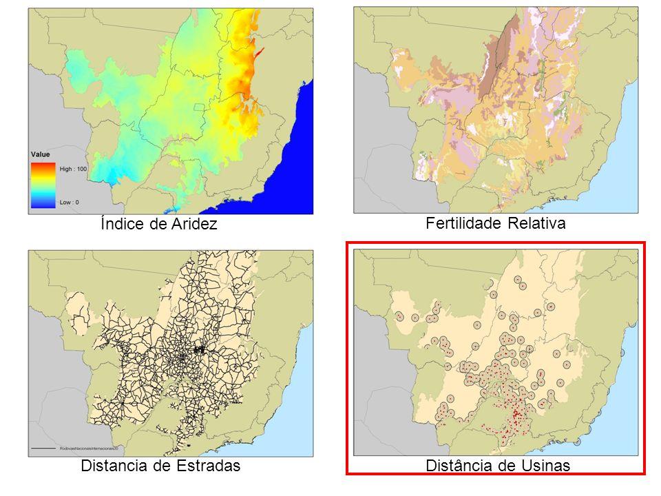Índice de Aridez Distancia de EstradasDistância de Usinas Fertilidade Relativa