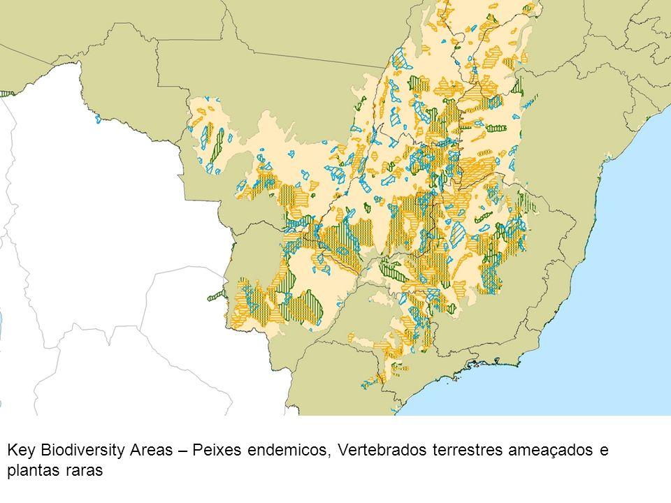 Key Biodiversity Areas – Peixes endemicos, Vertebrados terrestres ameaçados e plantas raras