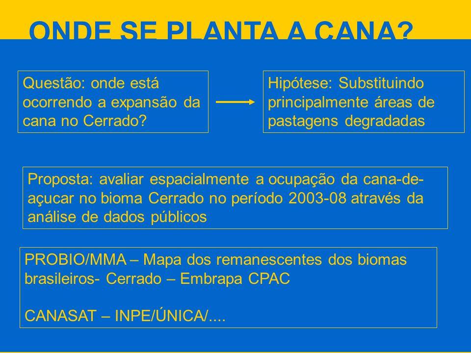ONDE SE PLANTA A CANA? Questão: onde está ocorrendo a expansão da cana no Cerrado? Hipótese: Substituindo principalmente áreas de pastagens degradadas