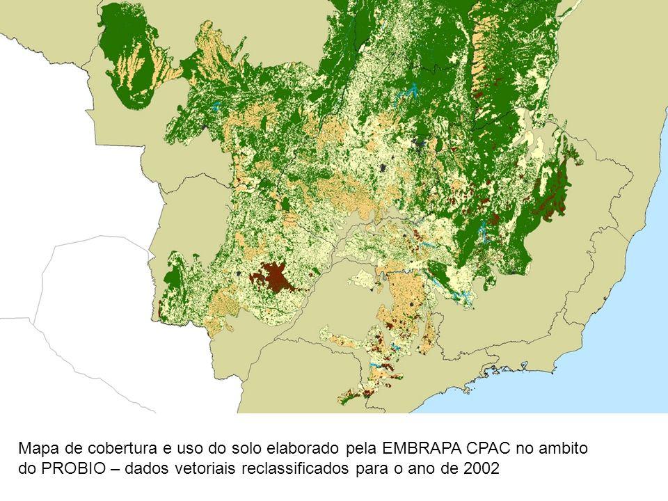 Mapa de cobertura e uso do solo elaborado pela EMBRAPA CPAC no ambito do PROBIO – dados vetoriais reclassificados para o ano de 2002