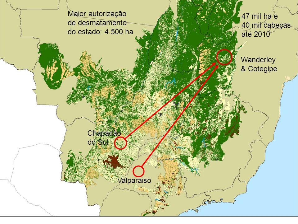 Valparaiso Chapadão do Sul Wanderley & Cotegipe 47 mil ha e 40 mil cabeças até 2010 Maior autorização de desmatamento do estado: 4.500 ha