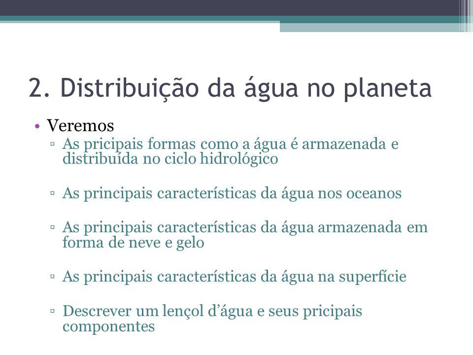 2. Distribuição da água no planeta Veremos As pricipais formas como a água é armazenada e distribuída no ciclo hidrológico As principais característic