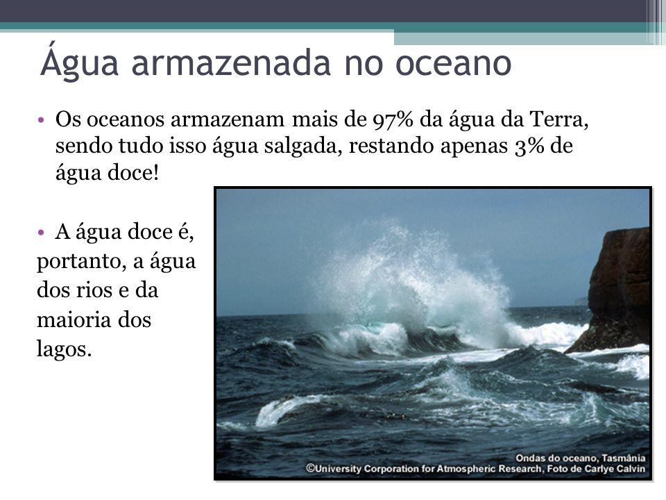 Água armazenada no oceano Os oceanos armazenam mais de 97% da água da Terra, sendo tudo isso água salgada, restando apenas 3% de água doce! A água doc
