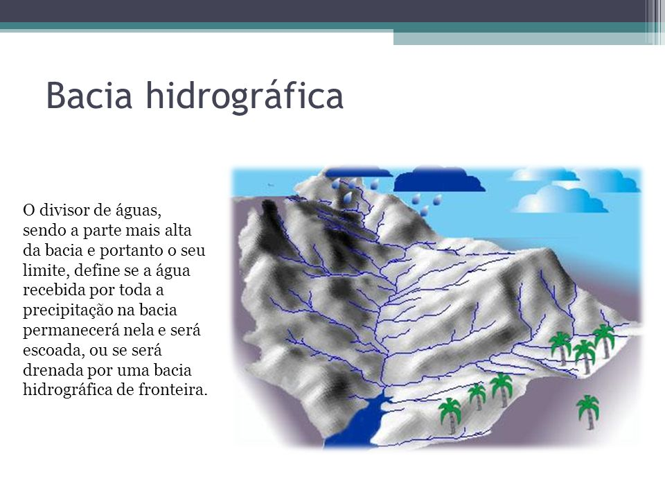 Bacia hidrográfica O divisor de águas, sendo a parte mais alta da bacia e portanto o seu limite, define se a água recebida por toda a precipitação na