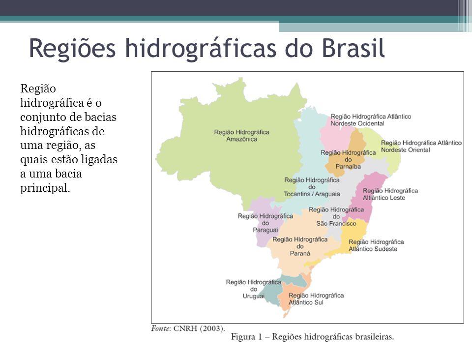 Regiões hidrográficas do Brasil Região hidrográfica é o conjunto de bacias hidrográficas de uma região, as quais estão ligadas a uma bacia principal.