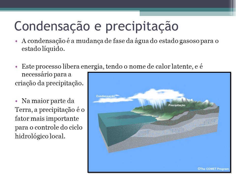 Condensação e precipitação A condensação é a mudança de fase da água do estado gasoso para o estado líquido. Este processo libera energia, tendo o nom