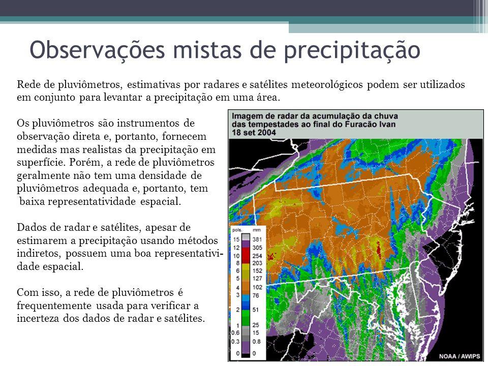 Observações mistas de precipitação Rede de pluviômetros, estimativas por radares e satélites meteorológicos podem ser utilizados em conjunto para leva