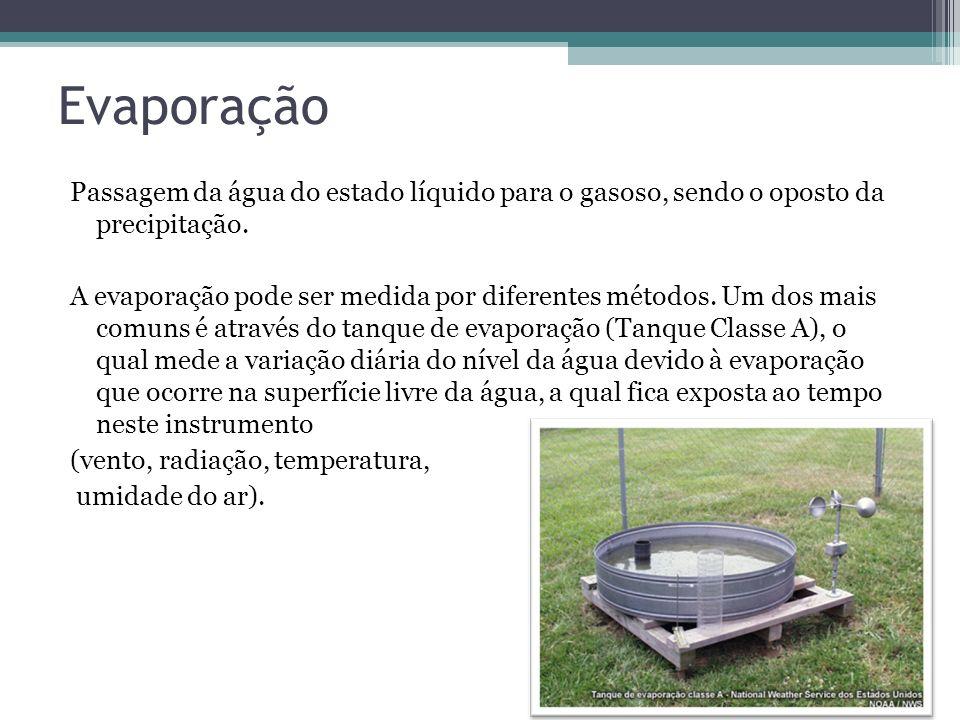 Evaporação Passagem da água do estado líquido para o gasoso, sendo o oposto da precipitação. A evaporação pode ser medida por diferentes métodos. Um d
