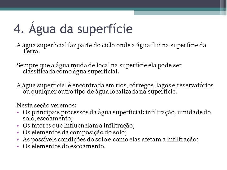 4. Água da superfície A água superficial faz parte do ciclo onde a água flui na superfície da Terra. Sempre que a água muda de local na superfície ela