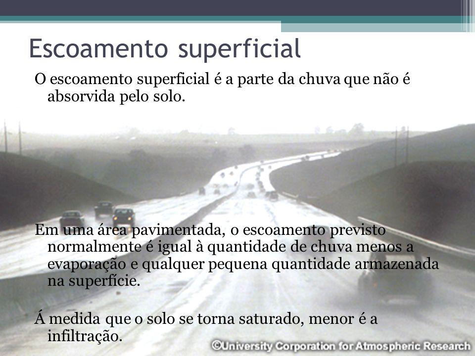 Escoamento superficial O escoamento superficial é a parte da chuva que não é absorvida pelo solo. Em uma área pavimentada, o escoamento previsto norma