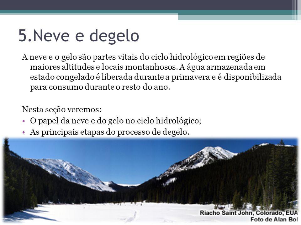 5.Neve e degelo A neve e o gelo são partes vitais do ciclo hidrológico em regiões de maiores altitudes e locais montanhosos. A água armazenada em esta