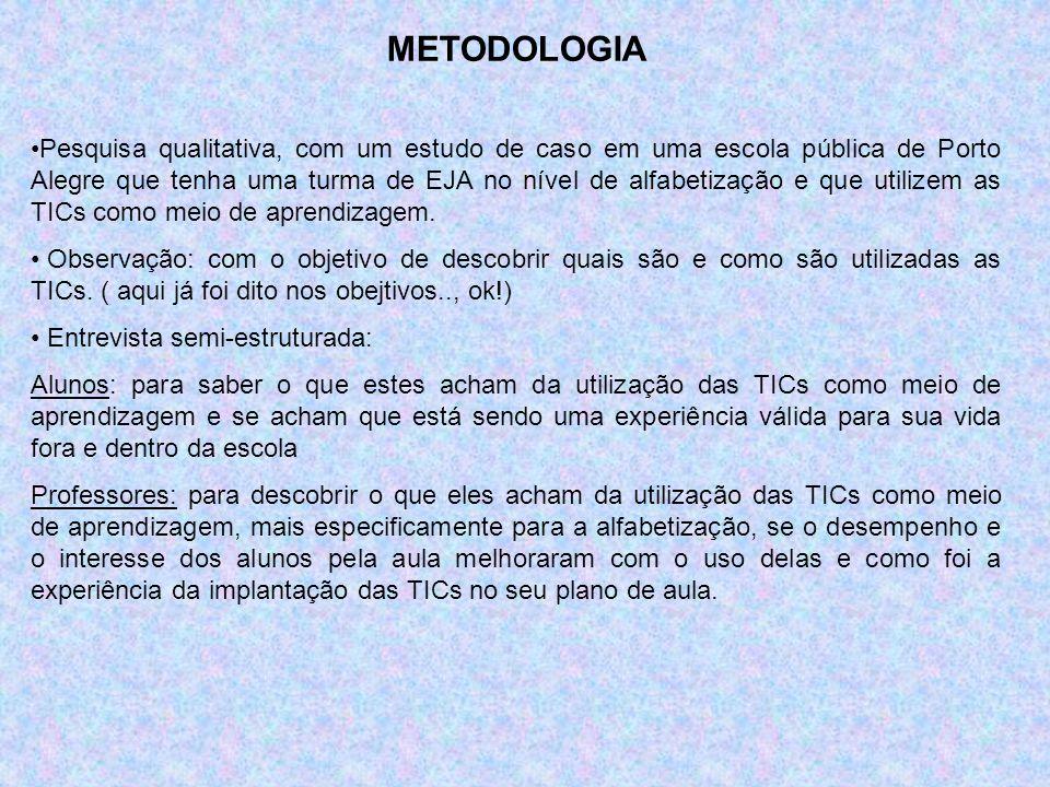 METODOLOGIA Pesquisa qualitativa, com um estudo de caso em uma escola pública de Porto Alegre que tenha uma turma de EJA no nível de alfabetização e q