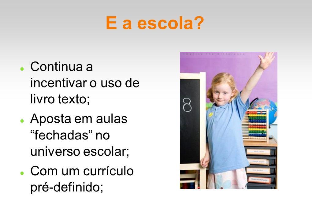 E a escola? Continua a incentivar o uso de livro texto; Aposta em aulas fechadas no universo escolar; Com um currículo pré-definido;