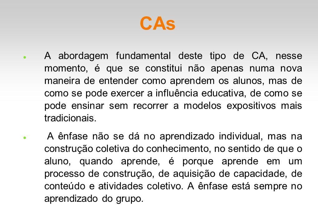CAs A abordagem fundamental deste tipo de CA, nesse momento, é que se constitui não apenas numa nova maneira de entender como aprendem os alunos, mas