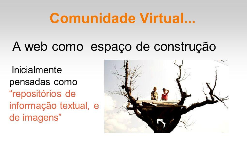 Comunidade Virtual... A web como espaço de construção Inicialmente pensadas como repositórios de informação textual, e de imagens