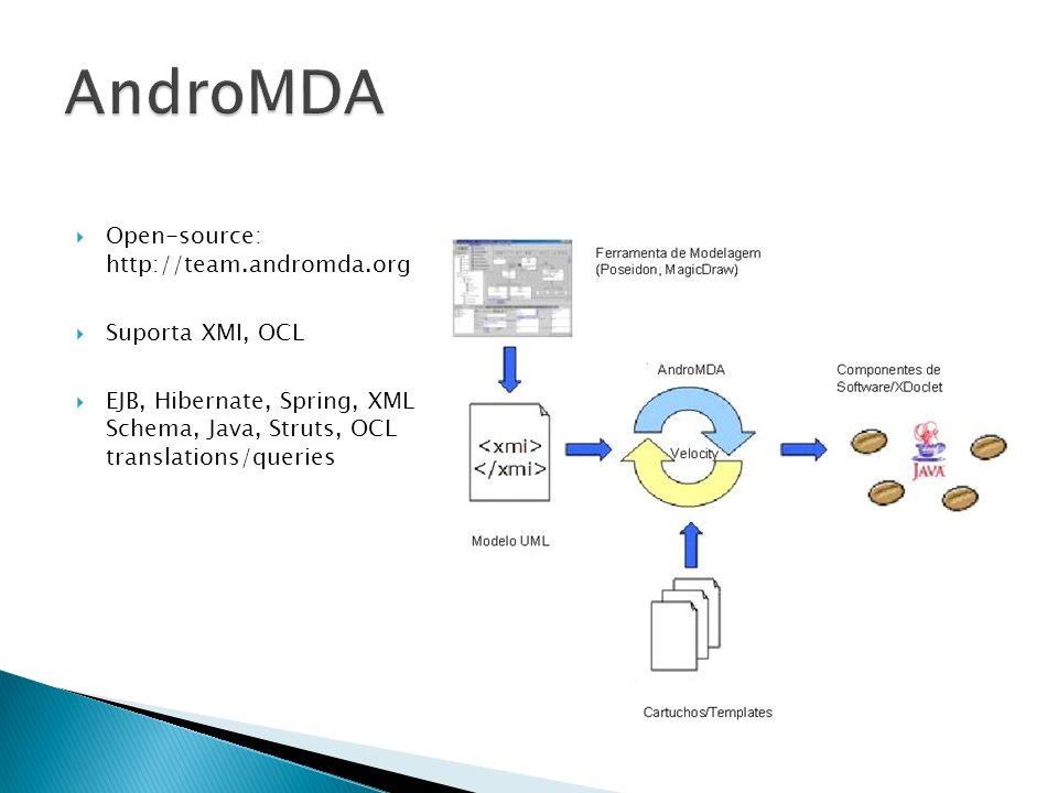 Open-source: http://team.andromda.org Suporta XMI, OCL EJB, Hibernate, Spring, XML Schema, Java, Struts, OCL translations/queries