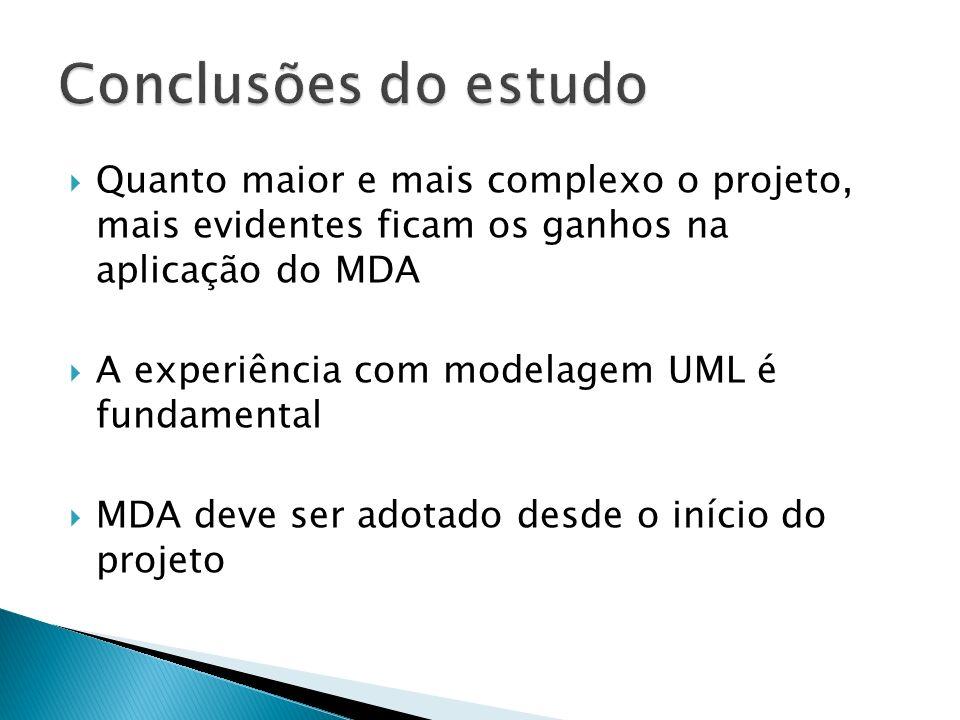 Quanto maior e mais complexo o projeto, mais evidentes ficam os ganhos na aplicação do MDA A experiência com modelagem UML é fundamental MDA deve ser