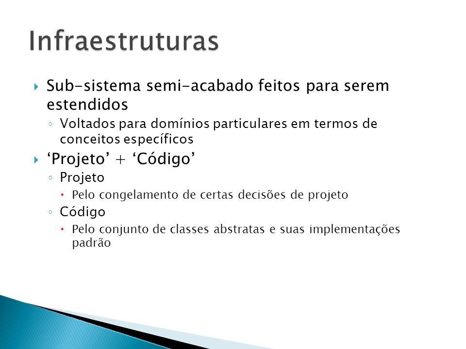 Sub-sistema semi-acabado feitos para serem estendidos Voltados para domínios particulares em termos de conceitos específicos Projeto + Código Projeto