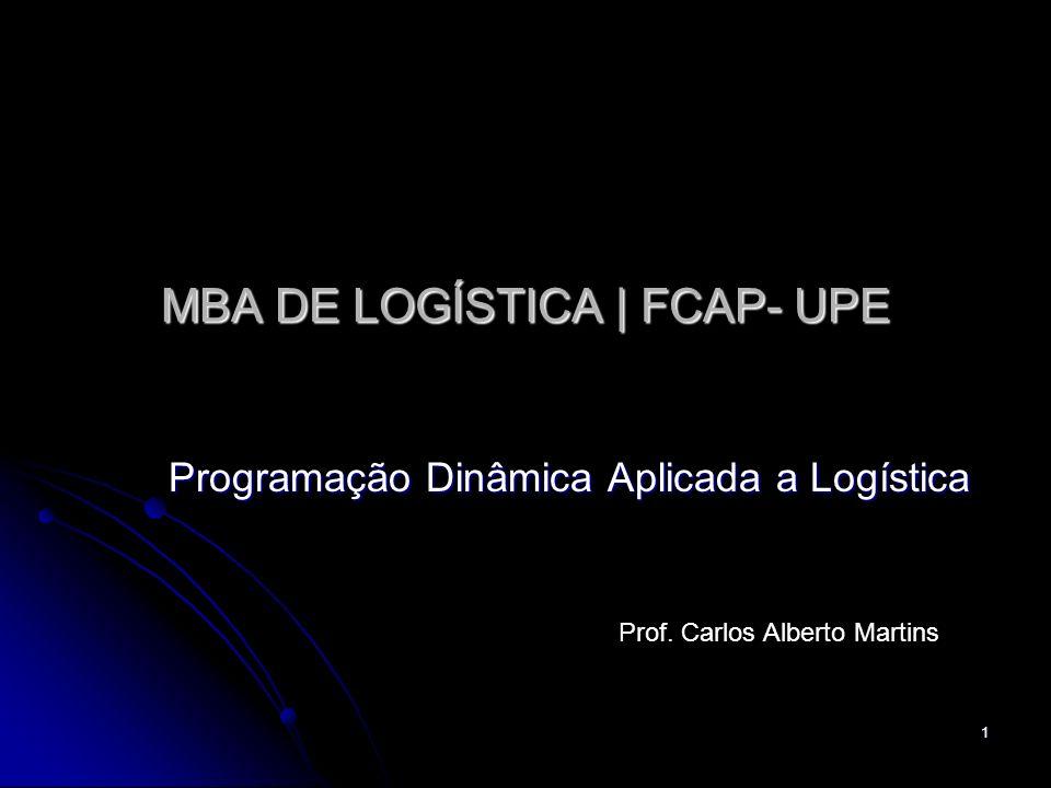 1 MBA DE LOGÍSTICA   FCAP- UPE Programação Dinâmica Aplicada a Logística Prof. Carlos Alberto Martins