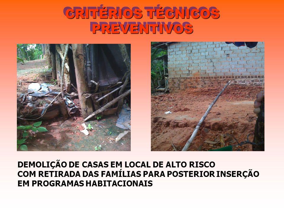 CRITÉRIOS TÉCNICOS PREVENTIVOS DEMOLIÇÃO DE CASAS EM LOCAL DE ALTO RISCO COM RETIRADA DAS FAMÍLIAS PARA POSTERIOR INSERÇÃO EM PROGRAMAS HABITACIONAIS