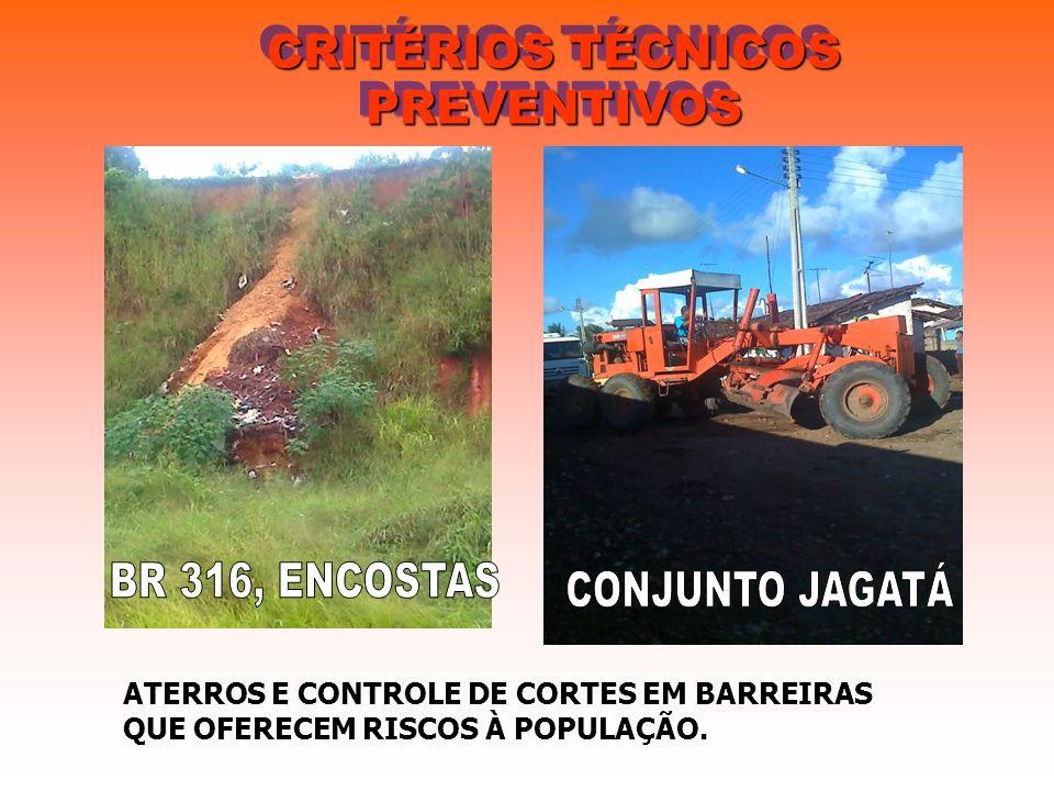 CRITÉRIOS TÉCNICOS PREVENTIVOS ATERROS E CONTROLE DE CORTES EM BARREIRAS QUE OFERECEM RISCOS À POPULAÇÃO.