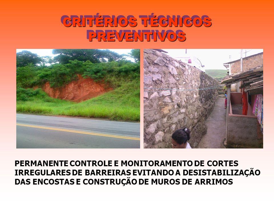CRITÉRIOS TÉCNICOS PREVENTIVOS PERMANENTE CONTROLE E MONITORAMENTO DE CORTES IRREGULARES DE BARREIRAS EVITANDO A DESISTABILIZAÇÃO DAS ENCOSTAS E CONST