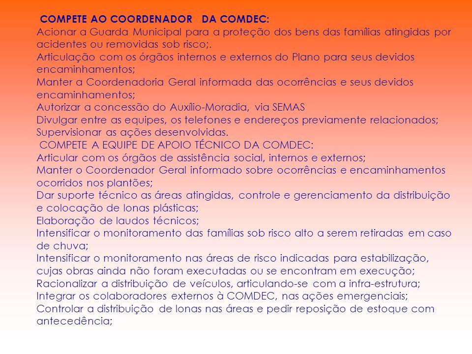 COMPETE AO COORDENADOR DA COMDEC: Acionar a Guarda Municipal para a proteção dos bens das famílias atingidas por acidentes ou removidas sob risco;. Ar