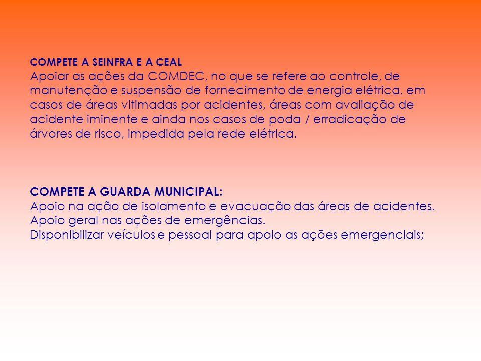 COMPETE A GUARDA MUNICIPAL: Apoio na ação de isolamento e evacuação das áreas de acidentes. Apoio geral nas ações de emergências. Disponibilizar veícu