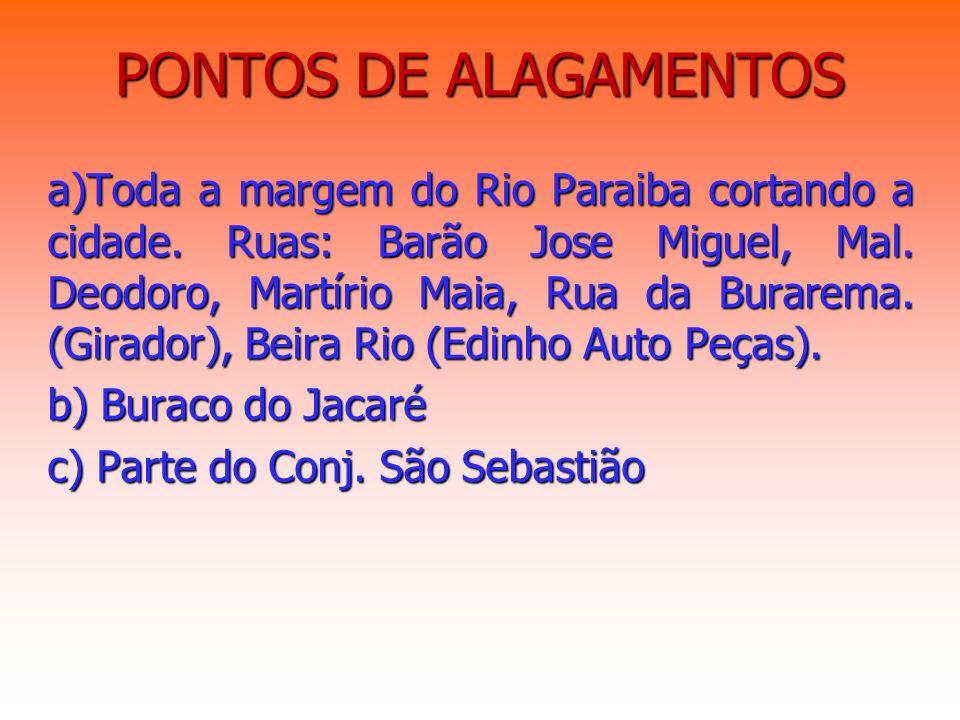 PONTOS DE ALAGAMENTOS a)Toda a margem do Rio Paraiba cortando a cidade. Ruas: Barão Jose Miguel, Mal. Deodoro, Martírio Maia, Rua da Burarema. (Girado