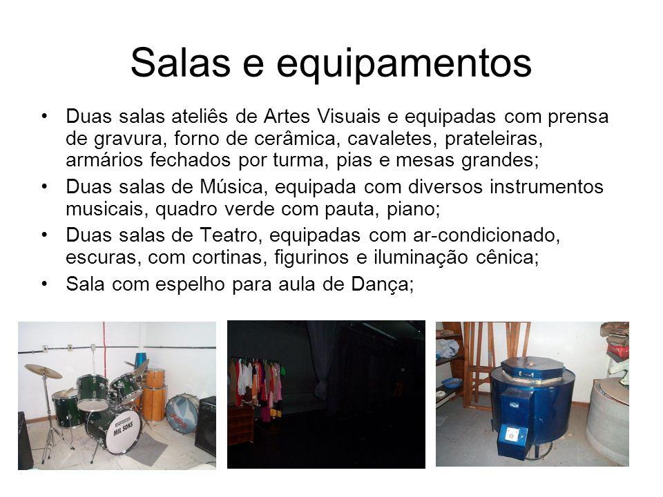 Salas e equipamentos Duas salas ateliês de Artes Visuais e equipadas com prensa de gravura, forno de cerâmica, cavaletes, prateleiras, armários fechad
