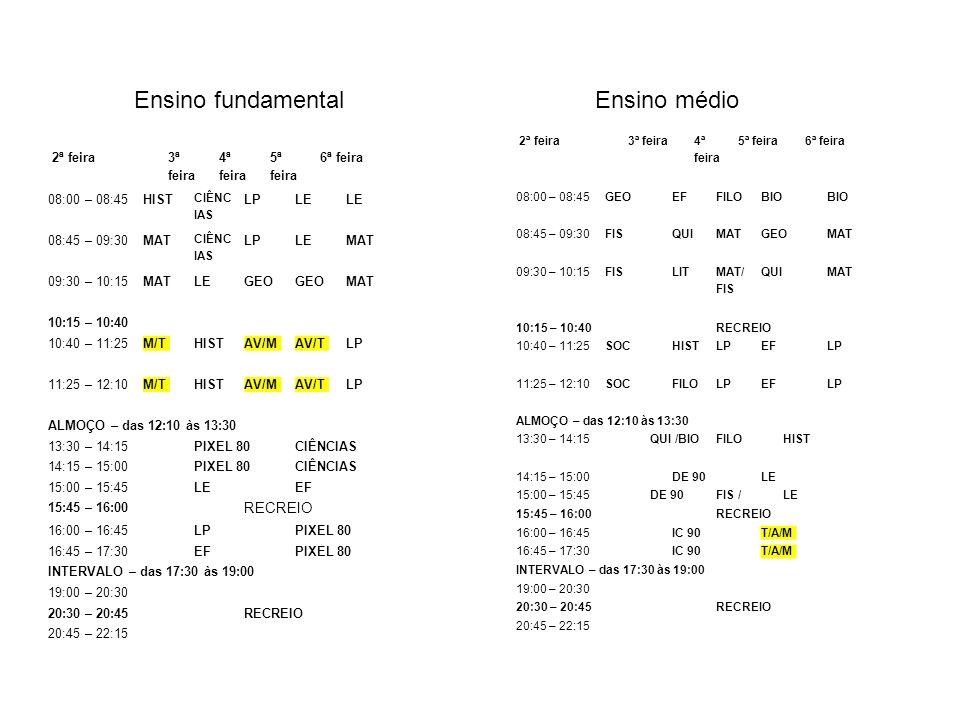 2ª feira 3ª feira 4ª feira 5ª feira 6ª feira 08:00 – 08:45HIST CIÊNC IAS LPLE 08:45 – 09:30MAT CIÊNC IAS LPLEMAT 09:30 – 10:15MATLEGEO MAT 10:15 – 10: