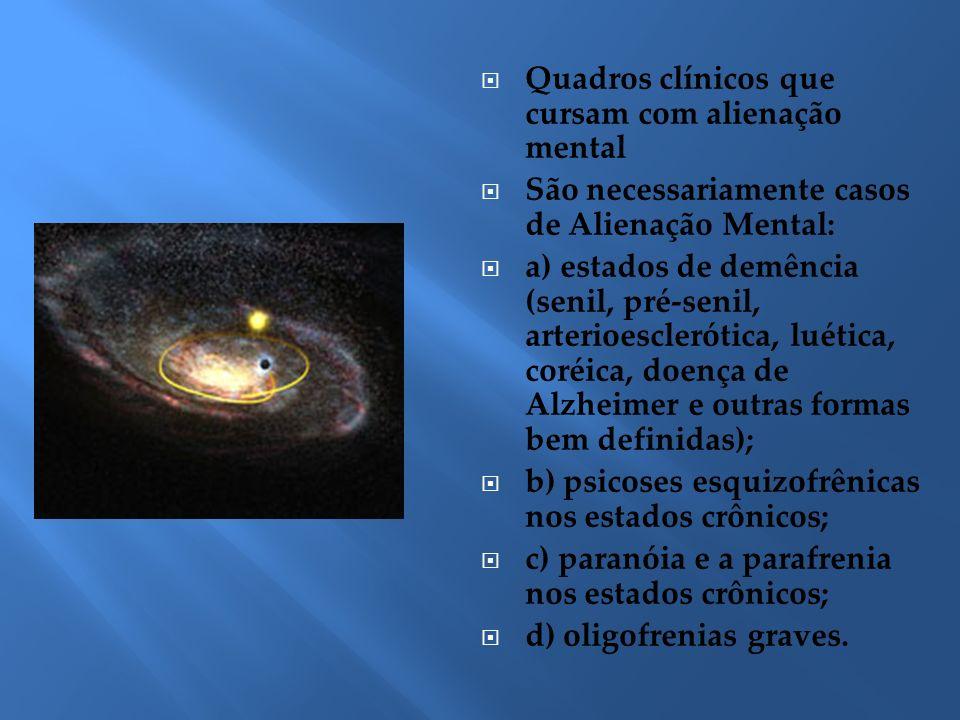 Quadros clínicos que cursam com alienação mental São necessariamente casos de Alienação Mental: a) estados de demência (senil, pré-senil, arterioescle