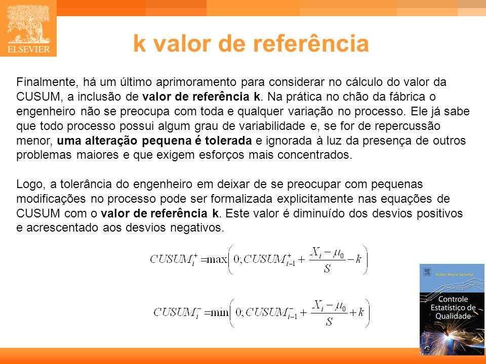 11 k valor de referência Finalmente, há um último aprimoramento para considerar no cálculo do valor da CUSUM, a inclusão de valor de referência k. Na
