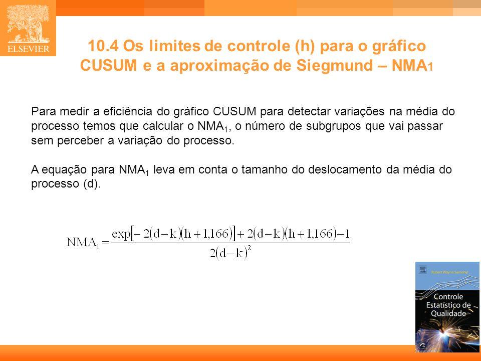 14 Para medir a eficiência do gráfico CUSUM para detectar variações na média do processo temos que calcular o NMA 1, o número de subgrupos que vai pas